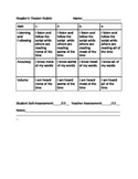 Reader's Theater or Oral Fluency Rubric with Teacher & Student Self - Assessment