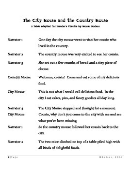 Reader's Theatre:  The Country Mouse and the City
