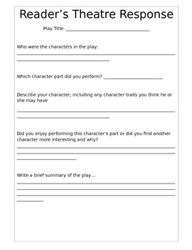 Reader's Theatre Writing Response Worksheet