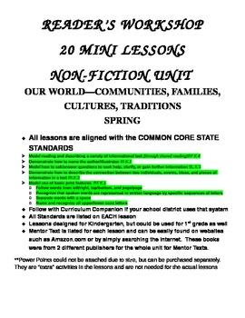 Readers Workshop 20 Lessons NonFiction Cultures, Communiti