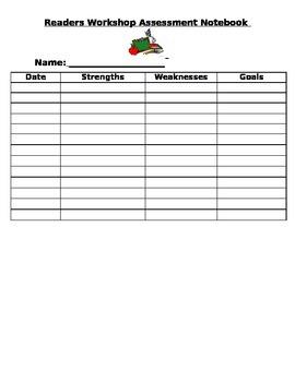 Readers Workshop Assessment Sheet