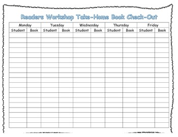 Reader's Workshop Book Check-out/Sign-out Sheet for Teache