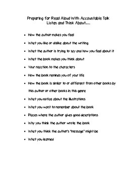Reading Workshop Freebie: Read Aloud With Accountable Talk Packet