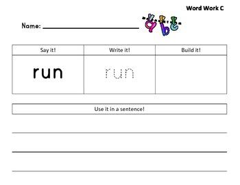 Reader's Workshop High Frequency Words Level C Word Work
