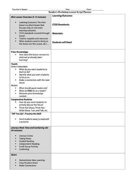 Reader's Workshop Lesson Plan Template (Danielson model)