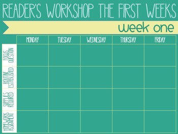 Reader's Workshop Master Plan - The First Weeks