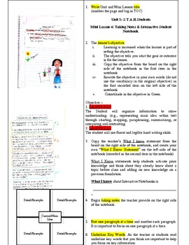 Readers Workshop-Mini Lesson #3-Taking Notes & Interactive Notebook