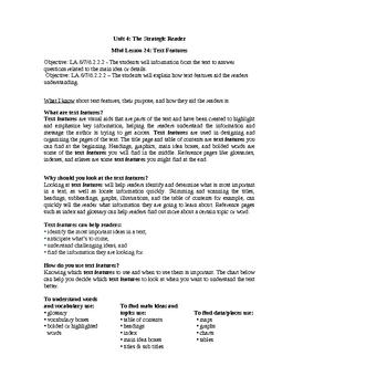 Reader's Workshop Mini Lesson-Text Features