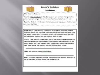 Reader's Workshop Mini Lessons- 5 Lessons on Procedures K-6