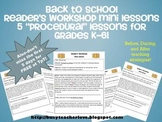 Reader's Workshop Mini Lessons- 5 Lessons on Procedures K-6