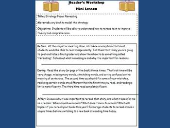 Reader's Workshop Mini Lessons- Packet 3 Procedures, Strategy, and Skill Lessons
