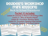 Reader's Workshop Mini Lessons Packet 4- Day 16-20