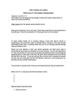Reader's Workshop MiniLesson-Abandoning Books & Reading Stamina