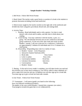 Reader's Workshop MiniLesson- Workshop Set Up Rules & Expectations