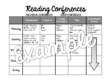 Readers Workshop and Conferences Planning Packet - Group and Individual