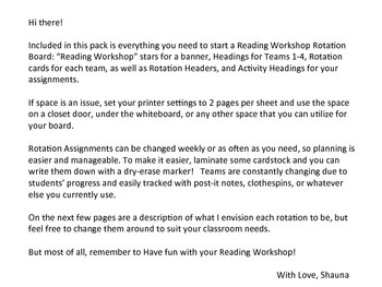 Reader's Workshop Rotation Board
