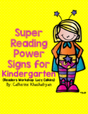 Readers Workshop: Super Reading Power Signs For Kindergarten