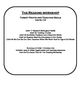 Reader's Workshop Unit 1-5 Teaching Points