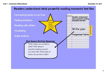 SMARTBOARD Characters to Life Unit - Reader's Workshop
