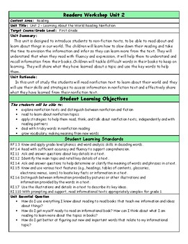 Readers Workshop Unit 2 Learning About the World  Grade 1 Lesson Plan Bundle