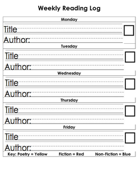 Readers Workshop Weekly Reading Log