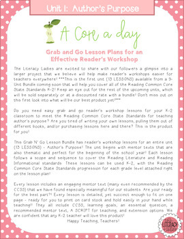 A Core a Day: Reader's Workshop Minilessons- Unit 1: Author's Purpose