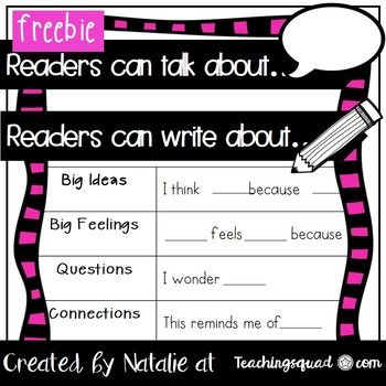Readers can... Talking & Writing Scaffold