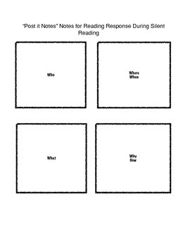 Readers notebook post it notes tracking sheet