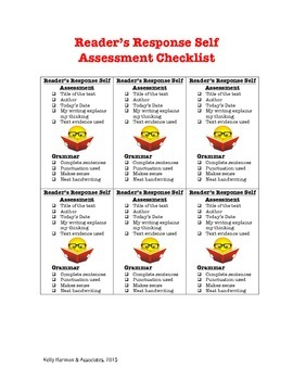 Reader's response Self Assessment Checklist