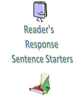 Reader's/Reading Response Notebook Sentence Starters