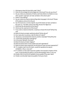 Readfest Final Exam Directions/Guiding Questions (about the book) for Students