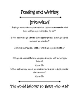 Reading and Writing interview