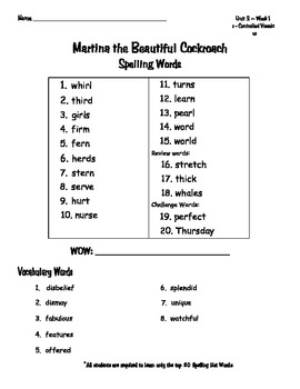 Reading Wonders Spelling Words Unit 3 Weeks 1-5