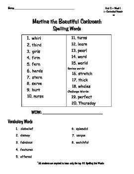 Reading Wonders Spelling Words Unit 3 Weeks 1-5