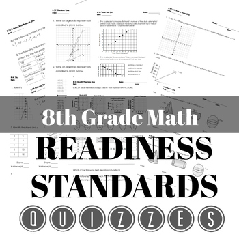 8th Grade Readiness Standards Quiz Bundle & STAAR Review Organizer
