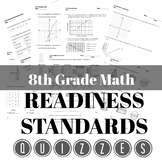 8th Grade Readiness Standards Quiz Bundle & STAAR Review Organizer