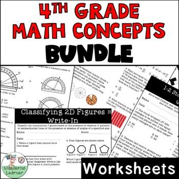 Math Worksheets ALL Readiness TEKS 4.2B-4.9A BUNDLE