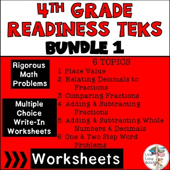 Readiness TEKS 4.2B-4.4H Multiple Choice & Write in 20 worksheets each BUNDLE