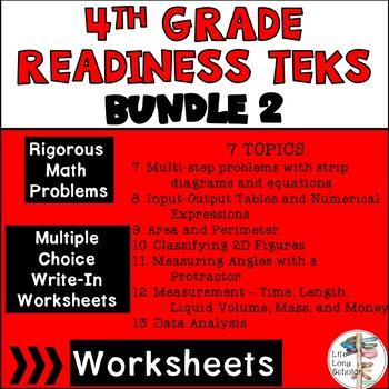 Math Worksheets Readiness TEKS 4.5A-4.9A BUNDLE 2