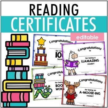 Reading 100 Books Certificate EDITABLE