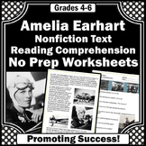Amelia Earhart Reading Passage, Women's History Month Activities