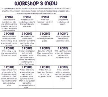 Reading 180 Workshop 8 Vocabulary Differentiated Activity Menu