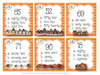 Reading 2 Digit Numbers Thanksgiving Style