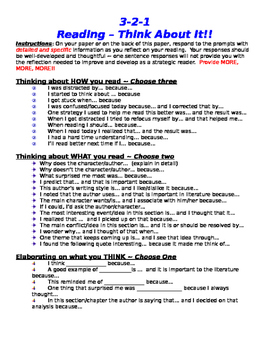 Reading 3-2-1: Close Reading Assignment - Info Text or Nonfiction