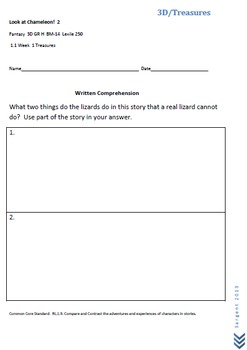 Mclass Reading 3D Written Comprehension Questions for Treasures Series