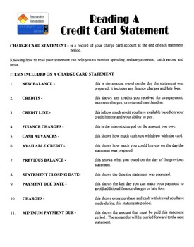 Reading A Credit Card Statement Lesson