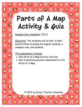 Parts of A Map Activity & Quiz by Drea's Teacher Creations ...