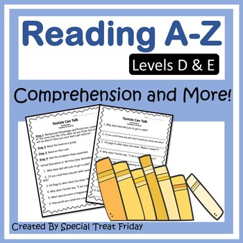 #summer2017 Reading A-Z Book Activities and Questions (Levels D-E)