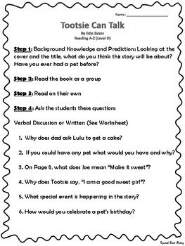 Reading A-Z Book Activities and Questions (Levels D-E)