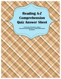 Reading A-Z Comprehension Quiz Answer Sheet